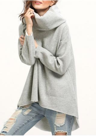 Solid Asymmetric Turtleneck Sweatshirt