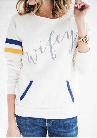 Wifey Striped Detail Sleeve Sweatshirt