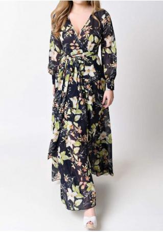 Floral Deep V-Neck Dress with Belt