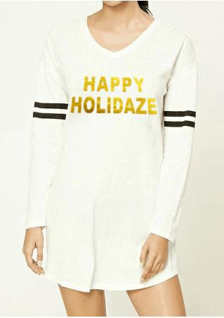 Happy Holidaze Striped Detail Sleeve T-Shirt