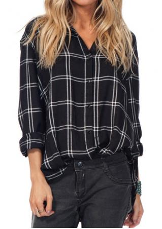 Plaid Button Asymmetric Shirt