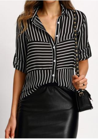 Striped Button Tab-Sleeve Shirt