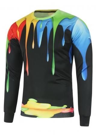 Multicolor Painted Casual Sweatshirt