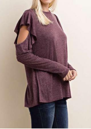 Solid Layered Hollow Out Blouse