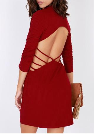 Solid Hollow out Knitted Bodycon Dress