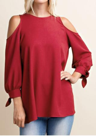 Solid Hollow Sleeve Blouse with Bow