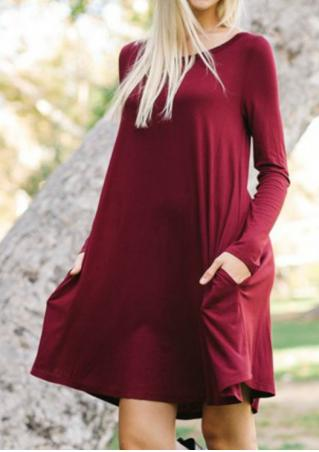 Solid Pocket Swing Mini Dress