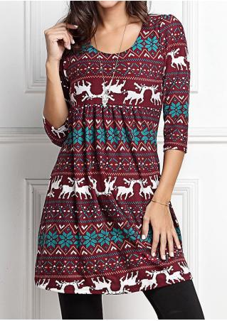 Christmas Reindeer O-Neck Mini Dress Without Necklace