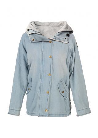 Button Zipper Pocket Hooded Coat