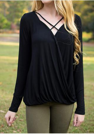 Solid Front Cross Ruffled Blouse