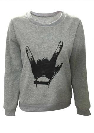 Gesture Long Sleeve Casual Sweatshirt