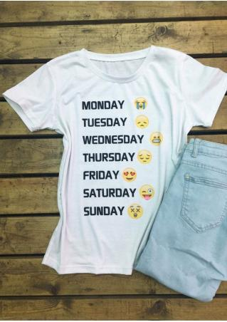 Letter Emoticons Casual T-Shirt