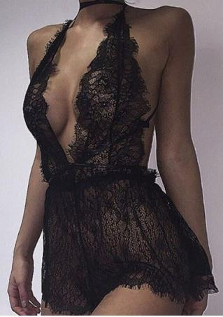 Solid Lace Halter Sexy Lingerie