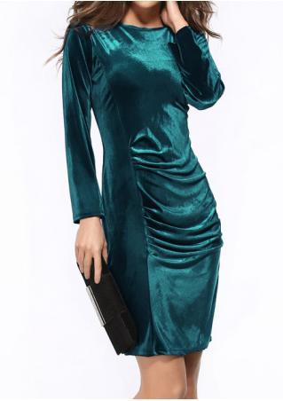 Velvet Zipper Front Ruched Bodycon Dress