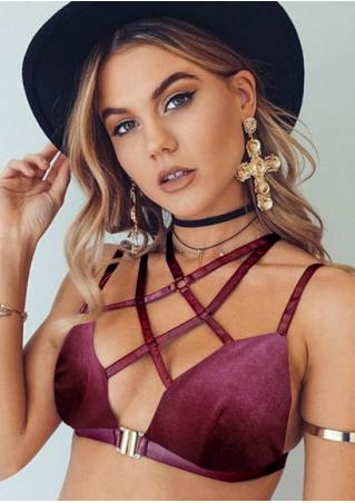 Solid Criss-Cross Sexy Bra without Necklace