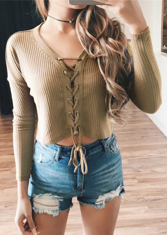 Solid Lace Up Crop Top without Necklace