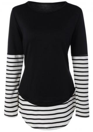 Striped Splicing Blouse
