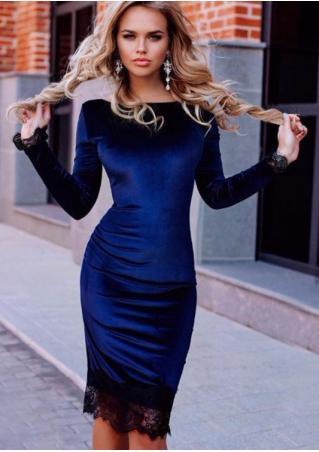 Velvet Lace Splicing Bodycon Dress