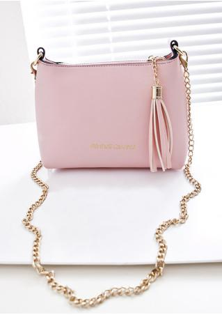 Solid Zipper Tassel Shoulder Bag