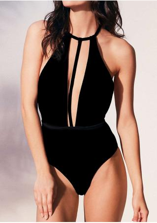 Solid Backless Swimsuit
