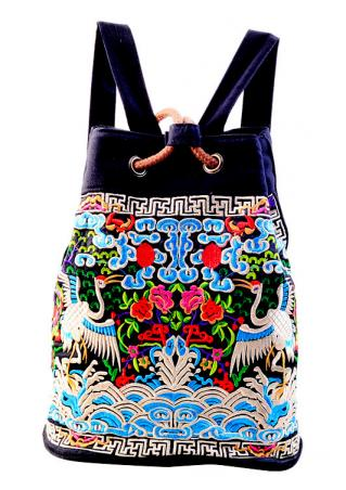 Embroidery Crane Peony Shoulder Bag