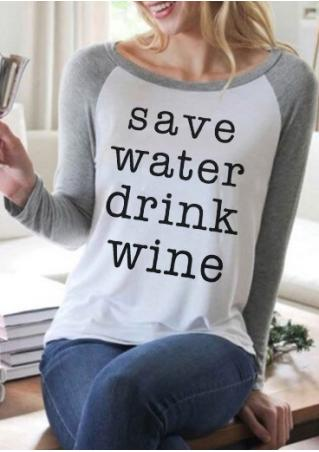 Save Water Drink Wine Baseball T-Shirt