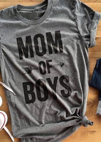 615254890 Mom of Boys Arrow T-Shirt - Bellelily