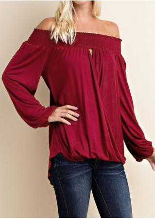 Solid Ruffled Cross Slash Neck Blouse