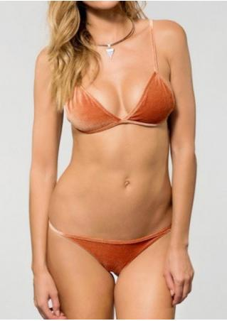 Solid Sexy Bikini Set without Necklace