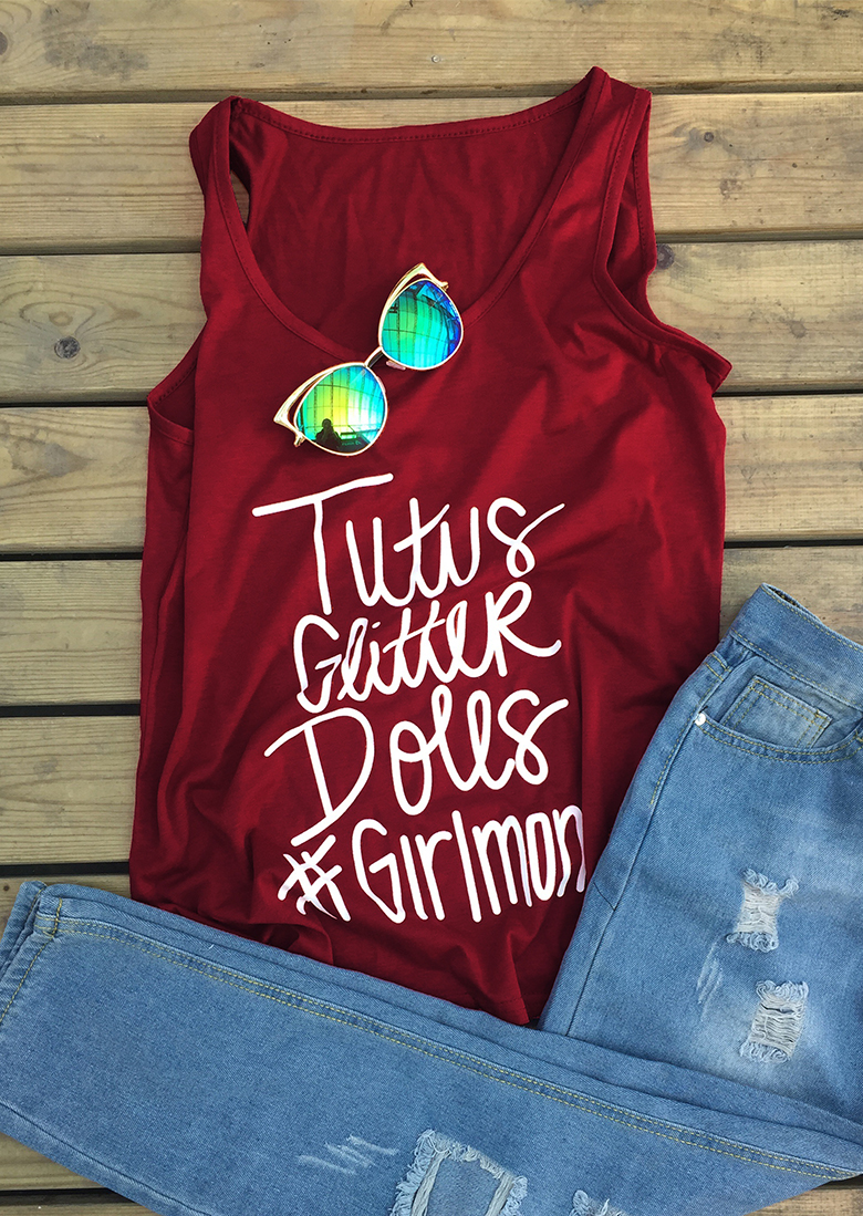 Tutvs Glitter Dolls Girl Mom Tank - Bellelily