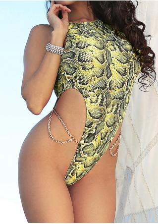 Snake Skin Open Back Swimsuit