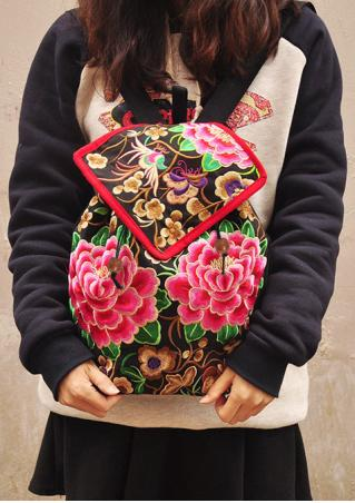 Embroidery Peony Backpack