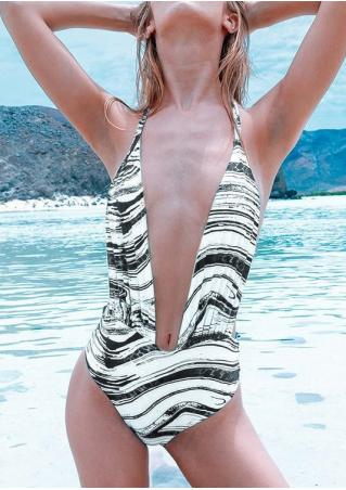 Printed Halter Backless Swimsuit