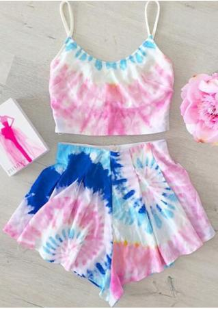 Tie Dye Ruffled Zipper Bikini Set