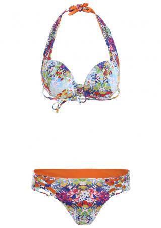 Floral Criss-Cross Hollow out Bikini Set