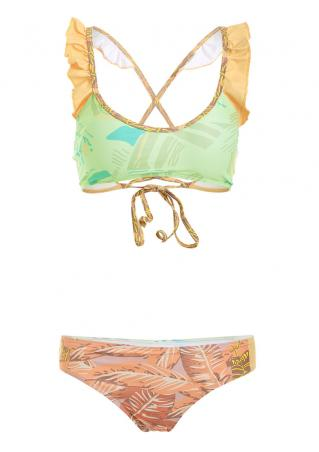 Ruffled Leaves Tie Bikini Set