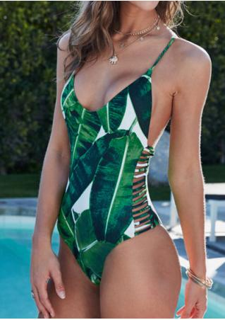 Leaf Strappy Swimsuit without Necklace