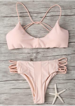 Solid Strappy Bikini Set