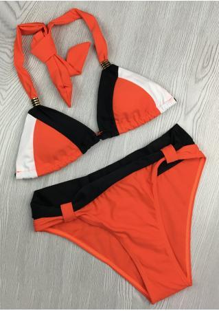 Color Block Metal Halter Bikini Set