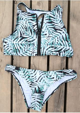 Leaf Zipper Plaid Bikini Set