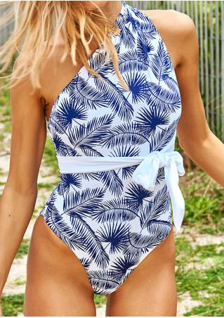 Leaf Printed Sexy Swimsuit with Belt