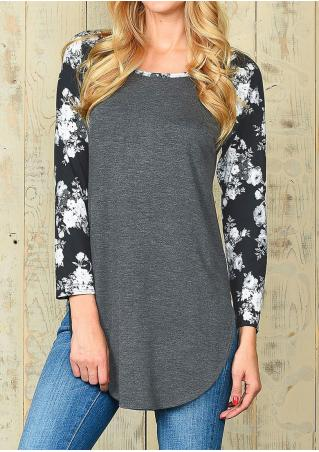 Asymmetric Floral Splicing Blouse