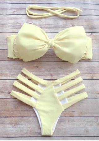Solid Bow Hollow out Sexy Bikini Set