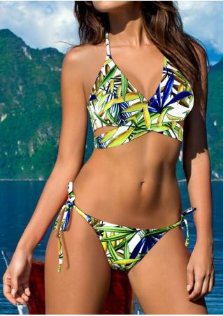 Leaf Cross Halter Sexy Bikini Set