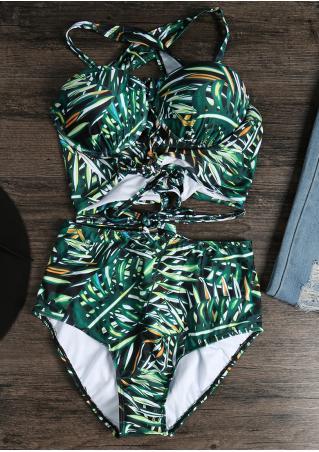 Leaf Lace Up Bikini Set