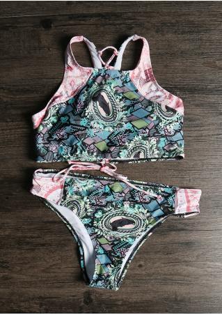 Contrast Lace Up Bikini Set