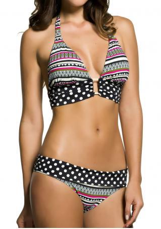 Geometric Polka Dot Halter Bikini Set