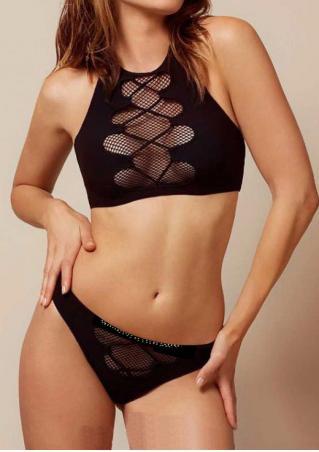 Solid Mesh Halter Bikini Set