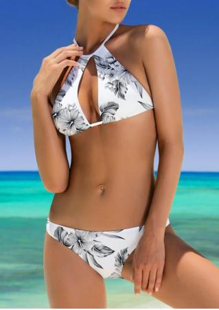 Floral Hollow Out Halter Bikini Set
