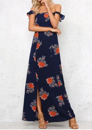Floral Flouncing Slit Maxi Dress